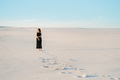 girl in a black dress stands in the middle of the desert - PhotoDune Item for Sale