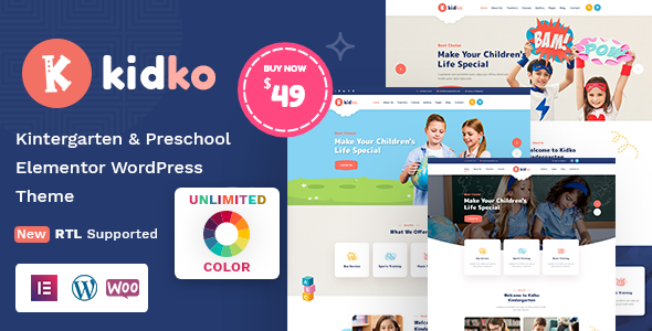 Kidko - Kindergarten & Baby Care WordPress Theme + RTL
