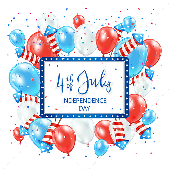 Independence Day Background with Card and Balloons