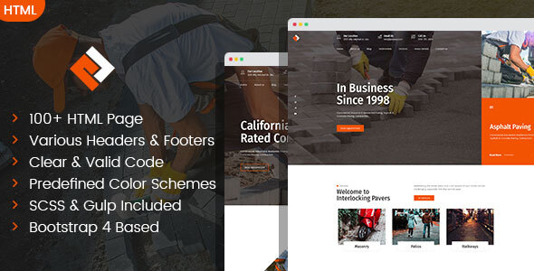 Pawex – Paving Contractor HTML Template, Gobase64