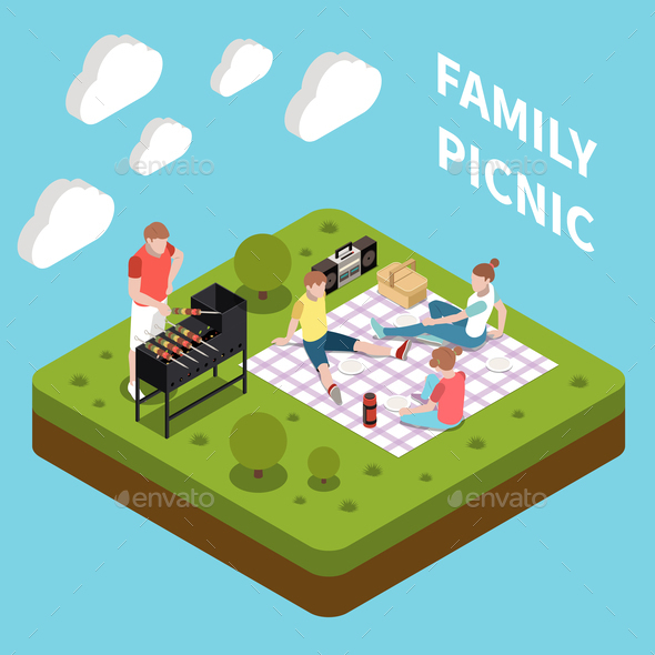 Family Leisure Playing Isometric People Composition