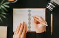 Flat lay woman's hand writes down addresses - PhotoDune Item for Sale