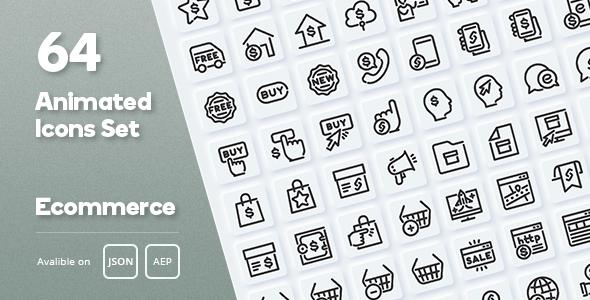 Ecommerce Animated Icons Set - Lottie Json SVG