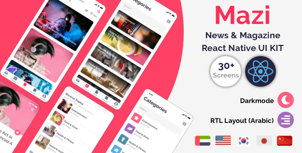 Mazi - News & Magazine for React Native mobile template Download