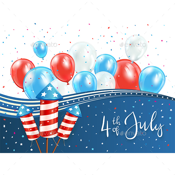 Independence Day Background with Red and Blue Balloons