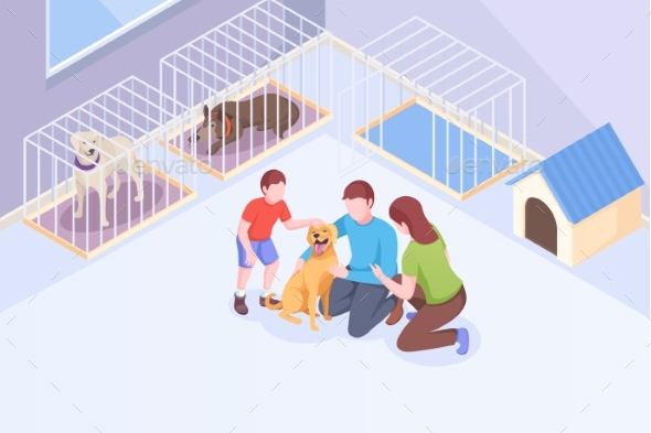 Pet Adopt, Family Plays with Dog at Animal Shelter