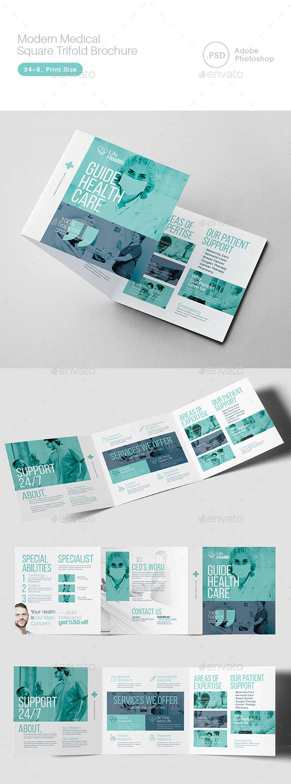 Modern Medical Square Trifold Brochure