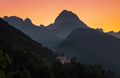 Castle below the Mangart mountain at sunrise - PhotoDune Item for Sale