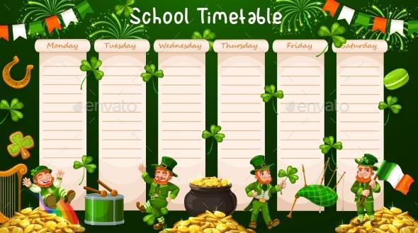 School Timetable, Schedule Table, Week Calendar