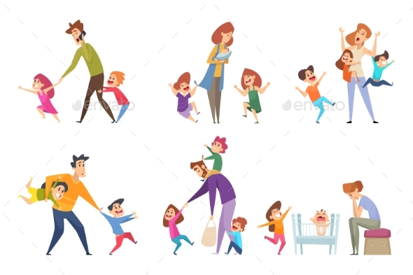 Active Kids. Big Family Tired Parents Playing