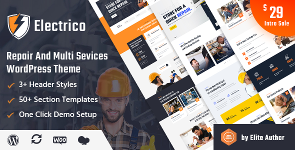 Electrico – Repair and Multi Services WordPress Theme Preview