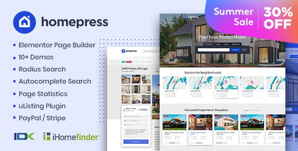 HomePress - Real Estate WordPress Theme Download