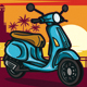 Scooter With Sunset Background - GraphicRiver Item for Sale