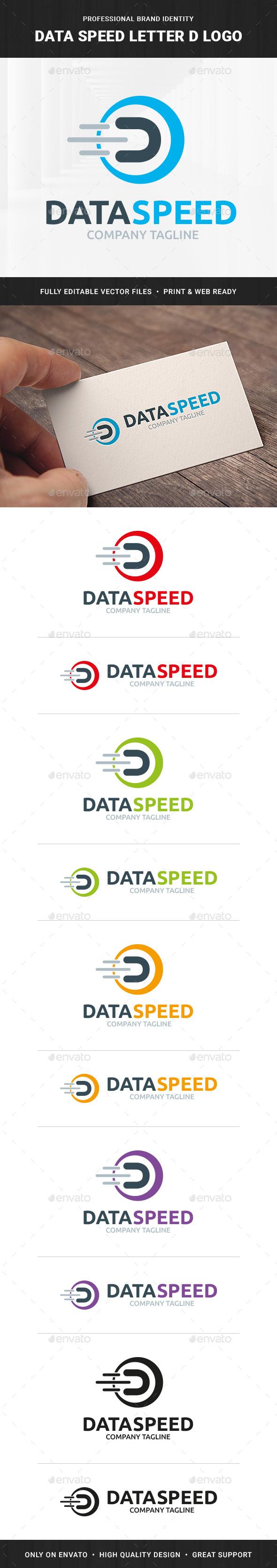 Data Speed - Letter D Logo