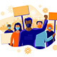 Group of People Protesters Protesting in Strike Wearing Face Mask with Virus - GraphicRiver Item for Sale