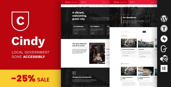 Cindy – Accessible Local Government WordPress Theme Preview