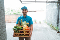 male delivery courier with grocery shopping - PhotoDune Item for Sale