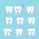 Tooth with Dental Tools Icons Set - GraphicRiver Item for Sale