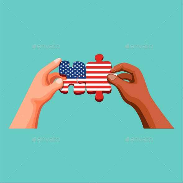 Two People Joining  Puzzle with American Flag Symbol
