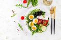 Breakfast. Greek salad and boiled eggs. - PhotoDune Item for Sale