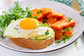 Avocado sandwich with fried egg and fried sliced pumpkin - PhotoDune Item for Sale