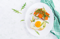 Sandwich with avocado and fried egg, sandwich with fried sliced pumpkin - PhotoDune Item for Sale