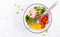 Omelette ingredients: eggs, ham, tomatoes, green herbs, milk and cheese - PhotoDune Item for Sale