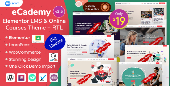 eCademy – Elementor LMS & Online Courses Theme Preview