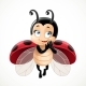 Flirtatious Fly Little Ladybug on a White - GraphicRiver Item for Sale