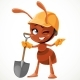 Ant with a Shovel in Hand Shows Somewhere - GraphicRiver Item for Sale