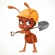 Ant with a Shovel in Hands Isolated on White - GraphicRiver Item for Sale