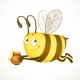 Fun Cartoon Bee Flies with Clay Pot Ful of Honey - GraphicRiver Item for Sale