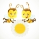 Two Baby Bees Keep a Daisy Flower  - GraphicRiver Item for Sale