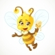 Bee with Wooden Dipper Flying on a White - GraphicRiver Item for Sale