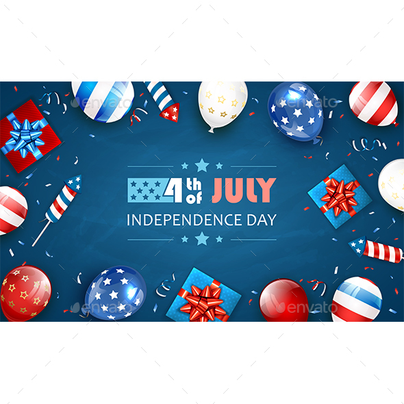 Blue Background with Balloons and Text Independence Day