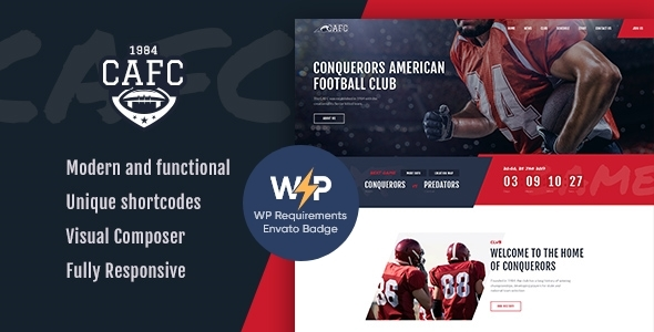 Conquerors | American Football & NFL WordPress Theme