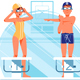 Woman and Man Coach and Swimmers Warm Up - GraphicRiver Item for Sale