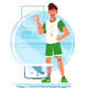 Happy Man Coaches and Swimmers with Stopwatch - GraphicRiver Item for Sale