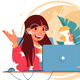 Happy Woman with Glasses Using Laptop - GraphicRiver Item for Sale