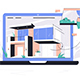 Laptop Using Selection Materials App for House - GraphicRiver Item for Sale