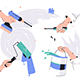 Four Hands Using and Holding Tools for Repairs - GraphicRiver Item for Sale
