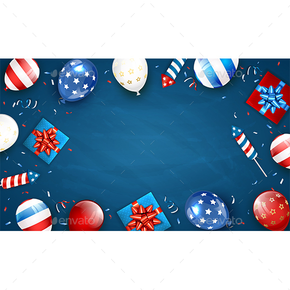 Blue Background with Balloons and Independence Day Fireworks