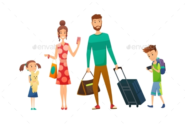 Happy Family Travel Together with Luggage