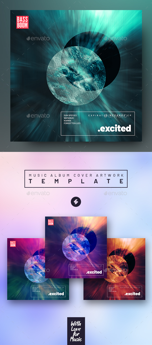 Excited – Electronic Music Album Cover Artwork Template