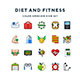 Diet and Fitness Icons - GraphicRiver Item for Sale