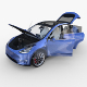 Tesla Model Y AWD Blue with interior and chassis - 3DOcean Item for Sale