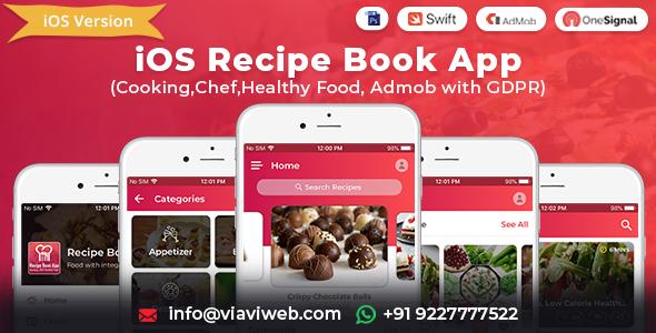 iOS Recipe Book App (Cooking,Chef,Healthy Food, Admob with GDPR) Download