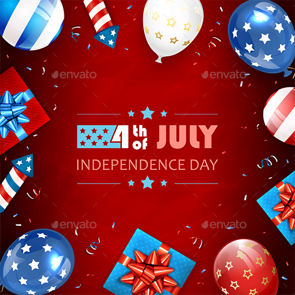 Balloons and Text Independence Day on Red Background