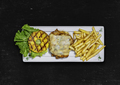 Chicken Burger. Grilled chicken, lettuce, fried pineapple ring, mozzarella cheese.Top view - PhotoDune Item for Sale