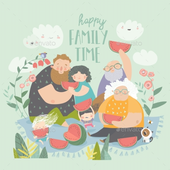 Happy Family Eating Watermelon in the Park